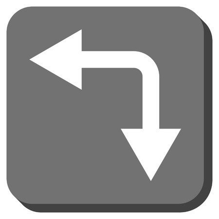 double cross: Bifurcation Arrow Left Down vector icon. Image style is a flat icon symbol in a rounded square button, white and gray colors.