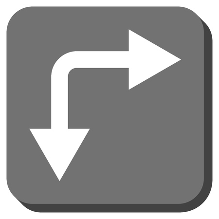 bifurcation: Bifurcation Arrow Right Down vector icon. Image style is a flat icon symbol in a rounded square button, white and gray colors. Illustration