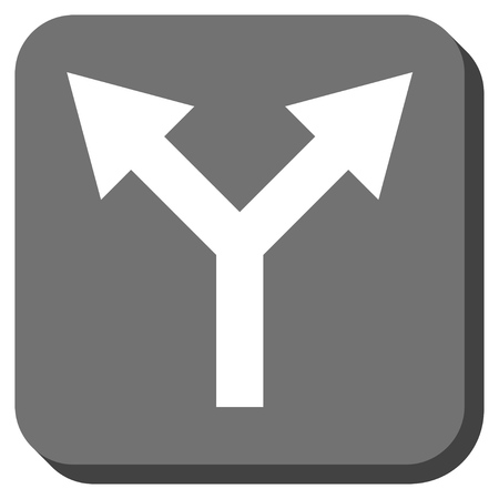 bifurcation: Bifurcation Arrow Up vector icon. Image style is a flat icon symbol inside a rounded square button, white and gray colors.