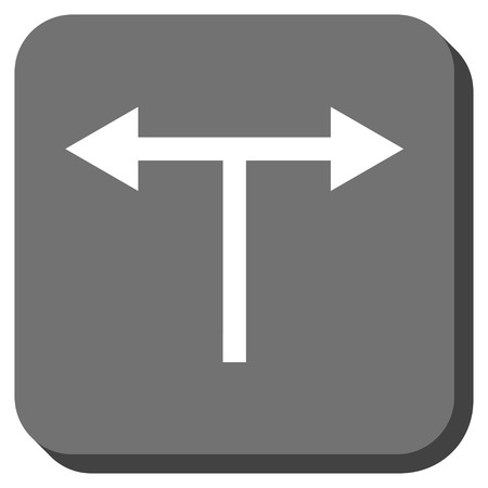 bifurcation: Bifurcation Arrows Left Right vector icon. Image style is a flat icon symbol on a rounded square button, white and gray colors.
