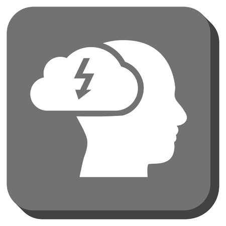 headaches: Brainstorming vector icon. Image style is a flat icon symbol in a rounded square button, white and gray colors.