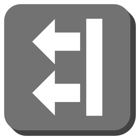 bring: Bring Left vector icon. Image style is a flat icon symbol inside a rounded square button, white and gray colors. Illustration