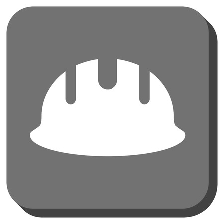 hardhat: Builder Hardhat vector icon. Image style is a flat icon symbol on a rounded square button, white and gray colors.