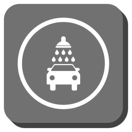 sanitize: Car Wash vector icon. Image style is a flat icon symbol in a rounded square button, white and gray colors.