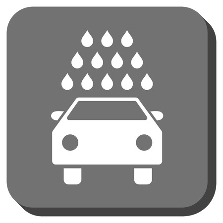 antiseptic: Car Wash vector icon. Image style is a flat icon symbol on a rounded square button, white and gray colors.