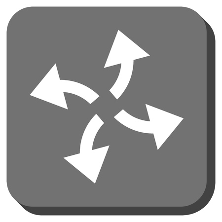 outward: Centrifugal Arrows vector icon. Image style is a flat icon symbol on a rounded square button, white and gray colors. Illustration