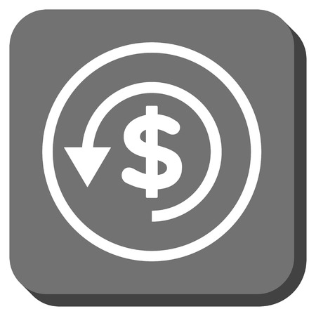 moneyback: Chargeback vector icon. Image style is a flat icon symbol in a rounded square button, white and gray colors.
