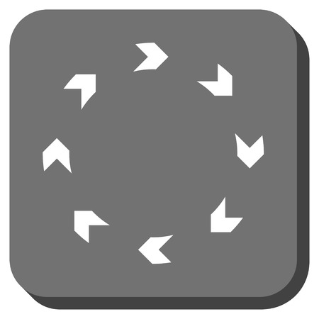 circling: Circulation vector icon. Image style is a flat icon symbol on a rounded square button, white and gray colors.