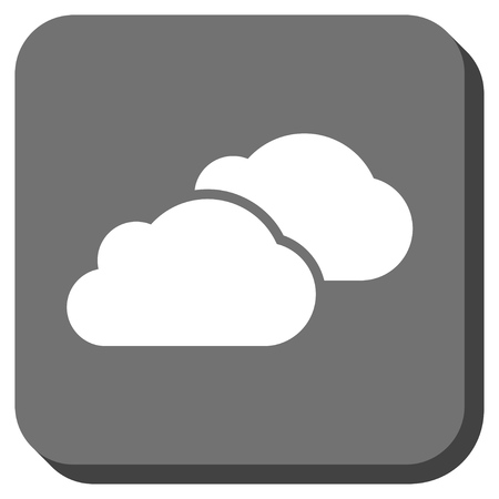 saas: Clouds vector icon. Image style is a flat icon symbol in a rounded square button, white and gray colors.