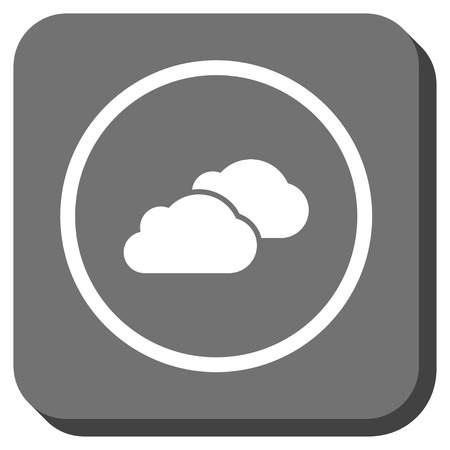 saas: Clouds vector icon. Image style is a flat icon symbol inside a rounded square button, white and gray colors.