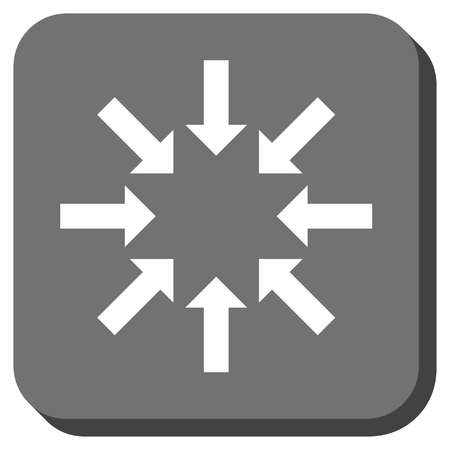 collapse: Collapse Arrows vector icon. Image style is a flat icon symbol on a rounded square button, white and gray colors. Illustration