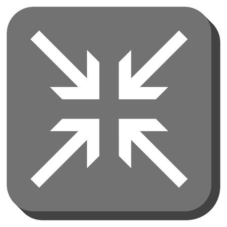 collide: Collide Arrows vector icon. Image style is a flat icon symbol in a rounded square button, white and gray colors. Illustration