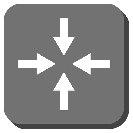 clash: Compress Arrows vector icon. Image style is a flat icon symbol on a rounded square button, white and gray colors. Illustration