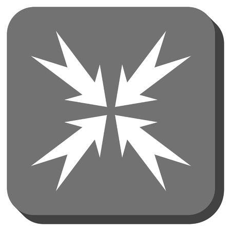 compression: Compression Arrows vector icon. Image style is a flat icon symbol on a rounded square button, white and gray colors.