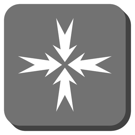 clash: Compression Arrows vector icon. Image style is a flat icon symbol on a rounded square button, white and gray colors.