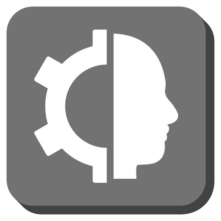 robo: Cyborg Gear vector icon. Image style is a flat icon symbol in a rounded square button, white and gray colors.