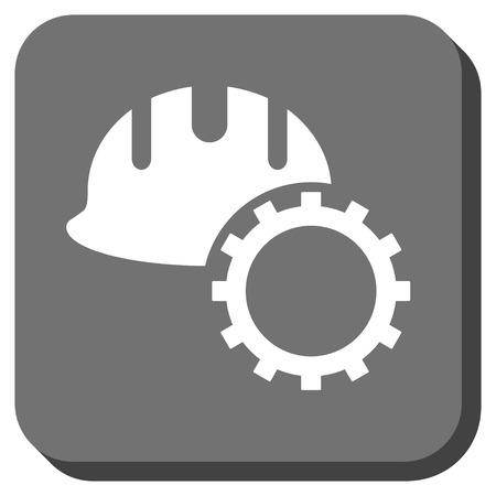 hardhat: Development Hardhat vector icon. Image style is a flat icon symbol on a rounded square button, white and gray colors. Illustration