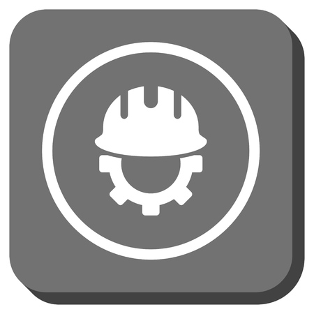 hardhat: Development Hardhat vector icon. Image style is a flat icon symbol in a rounded square button, white and gray colors.