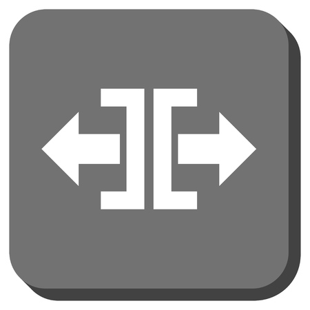 outwards: Divide Horizontal Direction vector icon. Image style is a flat icon symbol in a rounded square button, white and gray colors.