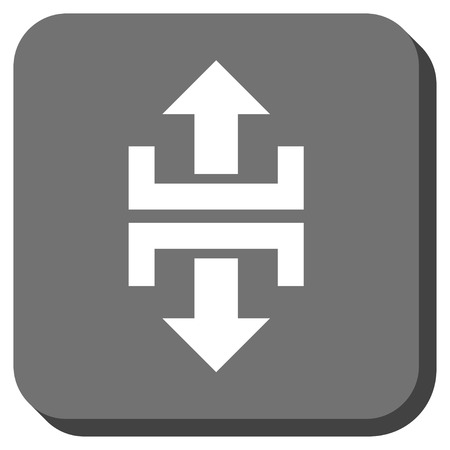 vertical divider: Divide Vertical Direction vector icon. Image style is a flat icon symbol on a rounded square button, white and gray colors.