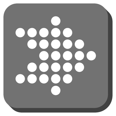 redirect: Dotted Arrow Right vector icon. Image style is a flat icon symbol inside a rounded square button, white and gray colors. Illustration