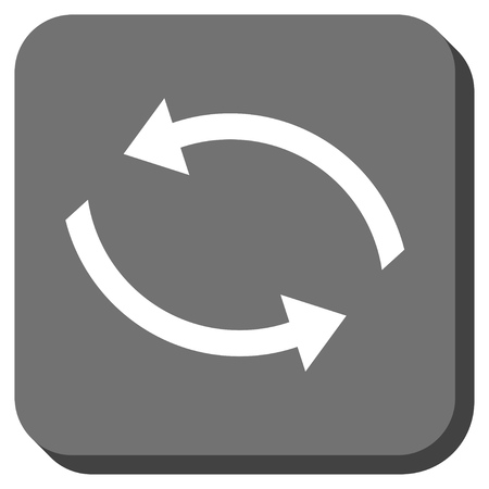 synchronize: Exchange Arrows vector icon. Image style is a flat icon symbol inside a rounded square button, white and gray colors.
