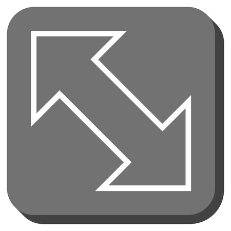 inverse: Exchange Diagonal vector icon. Image style is a flat icon symbol inside a rounded square button, white and gray colors.