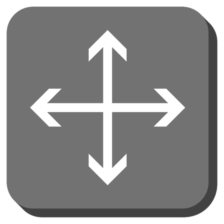 outwards: Expand Arrows vector icon. Image style is a flat icon symbol inside a rounded square button, white and gray colors.