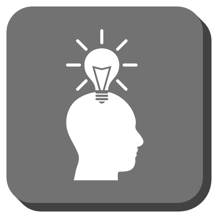 gray bulb: Genius Bulb vector icon. Image style is a flat icon symbol inside a rounded square button, white and gray colors. Illustration