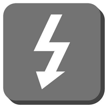 high voltage: High Voltage vector icon. Image style is a flat icon symbol in a rounded square button, white and gray colors.
