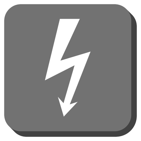 voltage gray: High Voltage vector icon. Image style is a flat icon symbol in a rounded square button, white and gray colors.