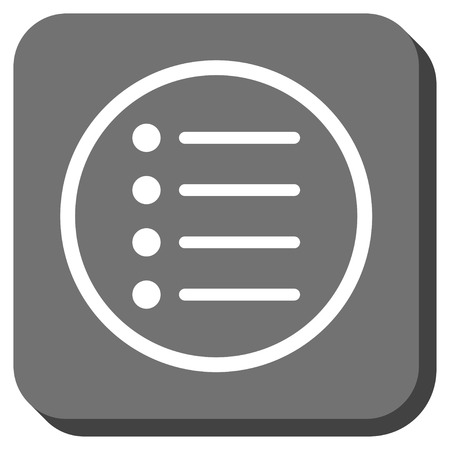 numerate: Items vector icon. Image style is a flat icon symbol in a rounded square button, white and gray colors.