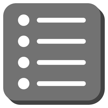 item list: Items vector icon. Image style is a flat icon symbol in a rounded square button, white and gray colors.