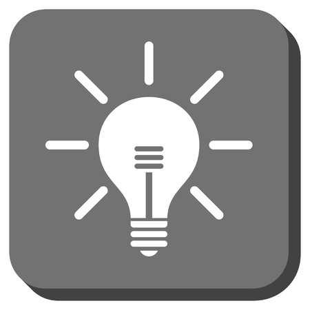 light emission: Light Bulb vector icon. Image style is a flat icon symbol inside a rounded square button, white and gray colors. Illustration