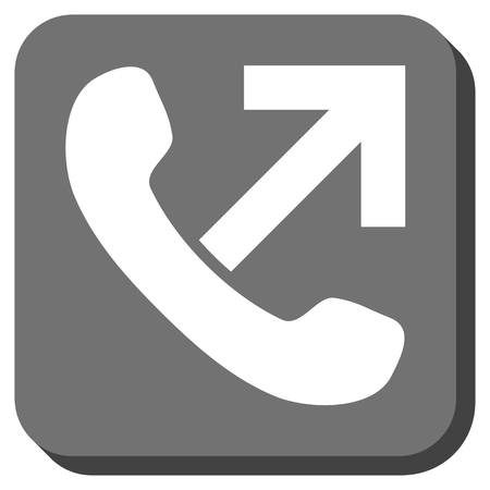 outgoing: Outgoing Call vector icon. Image style is a flat icon symbol in a rounded square button, white and gray colors. Illustration