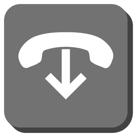 hang up: Phone Hang Up vector icon. Image style is a flat icon symbol on a rounded square button, white and gray colors.