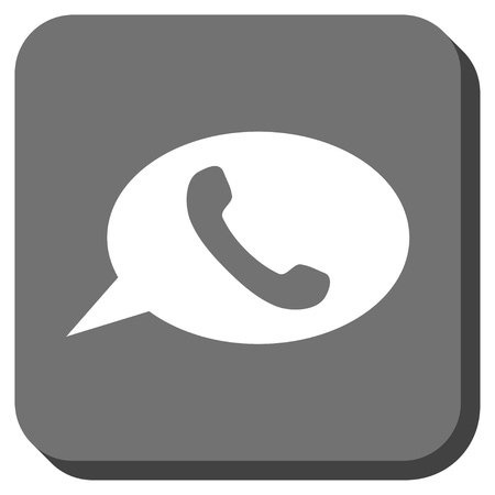 hint: Phone Message vector icon. Image style is a flat icon symbol inside a rounded square button, white and gray colors. Illustration