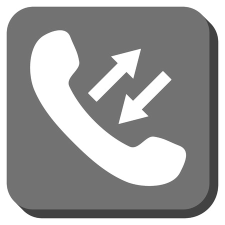 phone talking: Phone Talking vector icon. Image style is a flat icon symbol inside a rounded square button, white and gray colors. Illustration