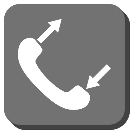 phone talking: Phone Talking vector icon. Image style is a flat icon symbol in a rounded square button, white and gray colors. Illustration