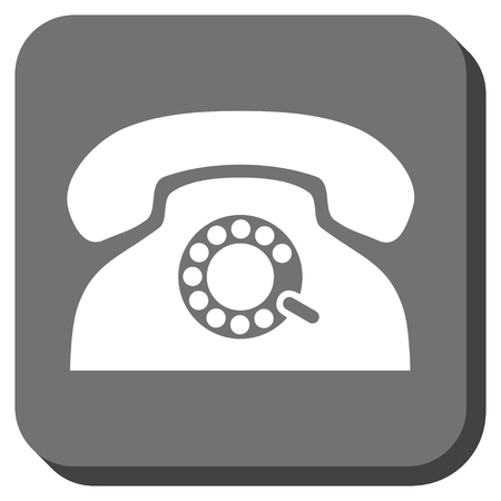 telephony: Pulse Phone vector icon. Image style is a flat icon symbol on a rounded square button, white and gray colors.