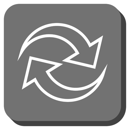 inverse: Refresh Arrows vector icon. Image style is a flat icon symbol on a rounded square button, white and gray colors.