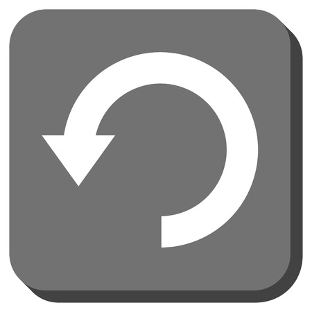 rotate: Rotate Down vector icon. Image style is a flat icon symbol in a rounded square button, white and gray colors. Illustration