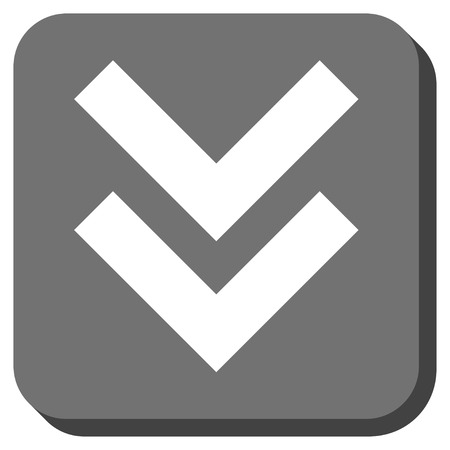 shift: Shift Down vector icon. Image style is a flat icon symbol in a rounded square button, white and gray colors. Illustration