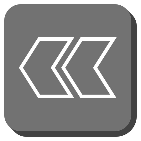 shift: Shift Left vector icon. Image style is a flat icon symbol inside a rounded square button, white and gray colors.