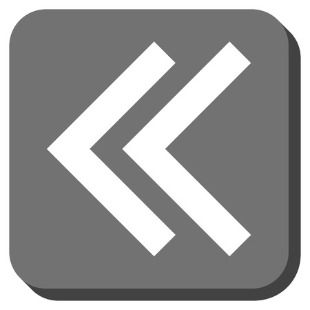 shift: Shift Left vector icon. Image style is a flat icon symbol in a rounded square button, white and gray colors.