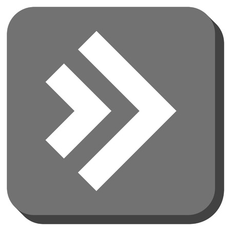 redirect: Shift Right vector icon. Image style is a flat icon symbol on a rounded square button, white and gray colors.