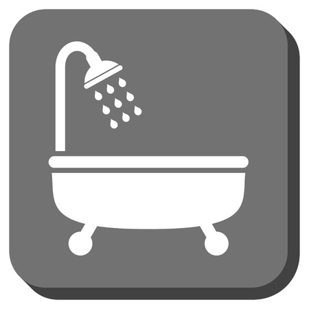shower bath: Shower Bath vector icon. Image style is a flat icon symbol on a rounded square button, white and gray colors.