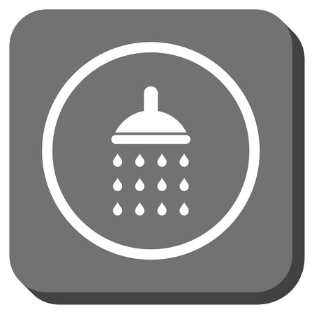 antiseptic: Shower vector icon. Image style is a flat icon symbol inside a rounded square button, white and gray colors. Illustration