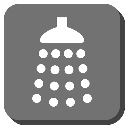 sterilize: Shower vector icon. Image style is a flat icon symbol in a rounded square button, white and gray colors. Illustration