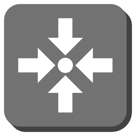 shrink: Shrink Arrows vector icon. Image style is a flat icon symbol on a rounded square button, white and gray colors. Illustration